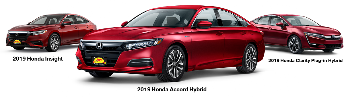 The All-New 2018 Red Honda Accord Hybrid Sedan and The All-New 2019 Red Honda Insight Hybrid Sedan and The All-New 2019 Red Honda Clarity Plug-In Hybrid Sedan at Jay Honda