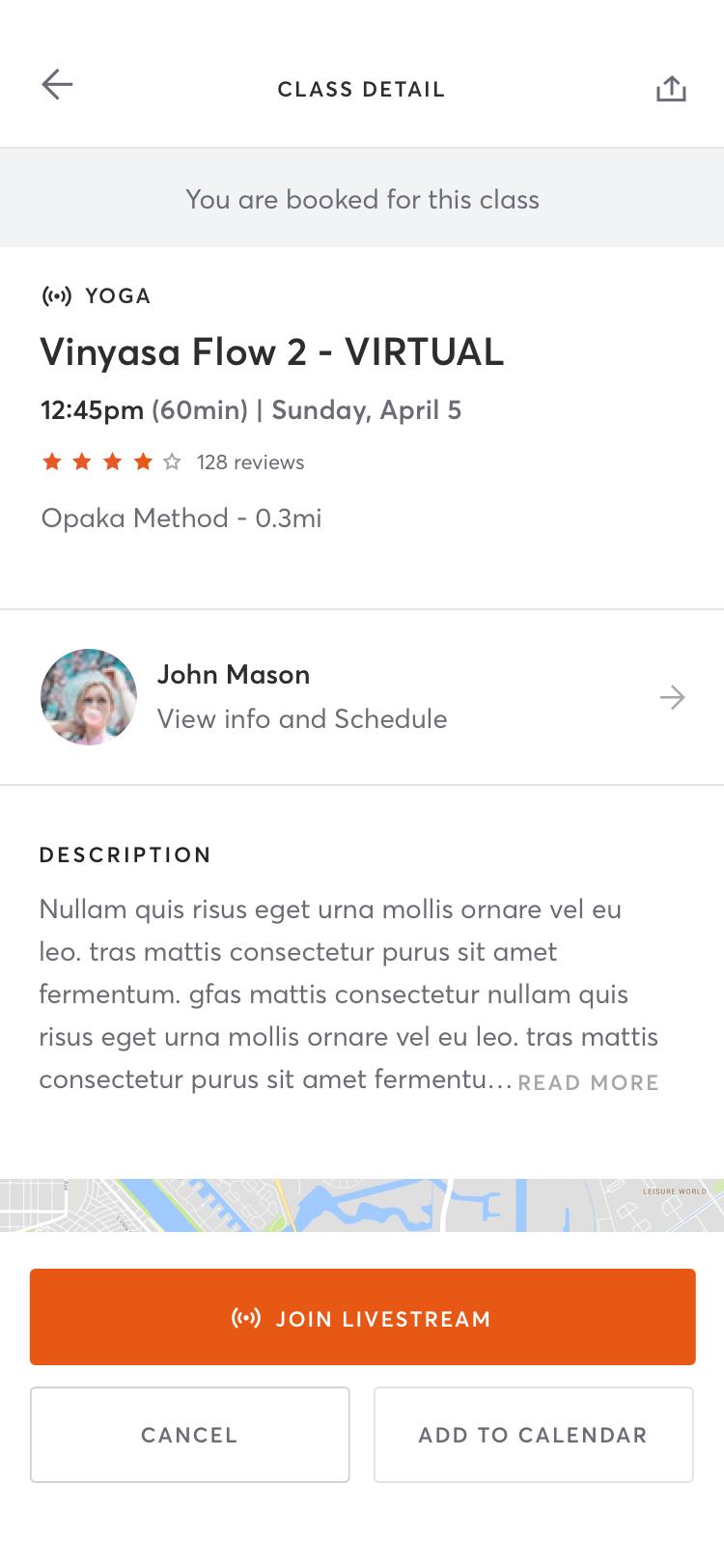 Android Mindbody app schedule