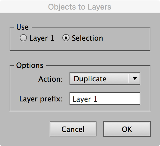 Objects to Layers Dialog
